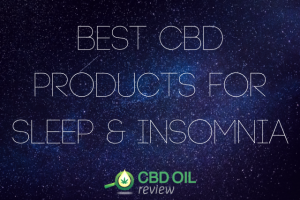 """Vector graphic poster written with """"Best CBD Products For Sleep & Insomnia"""" with CBD OIL Review logo below"""