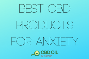 """Vector graphic poster written with """"Best CBD Products For Anxiety"""" with CBD OIL Review logo below"""